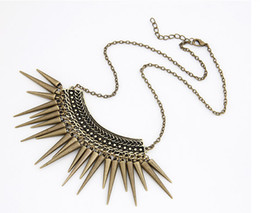 Wholesale Rivet Spikes Bronze - Wholesale-XL169 Hot Sale Punk Style Rivet Tassel Collar Fashion Long Chain Antique Bronze Color Spike Pendant Necklace