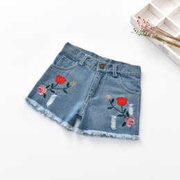 Wholesale Girls Summer Jeans - Baby Girls Jeans 2017 Summer Rose Embroidered Denim Shorts, personalized break jeans