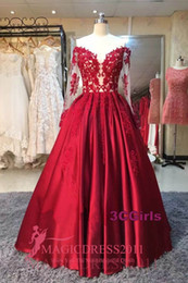 Wholesale Winter Pageant Wear - Real Photo Burgundy Arabic Evening Prom Dresses 2016 Off-Shoulder Illusion Bodice Long Sleeves Floor Length Gown Formal Girls' Pageant Dress