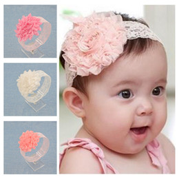 Wholesale Big Chiffon Flowers Baby Headband - Wholesale- NEW Baby Girls Floral Headband chiffon big Flower lace Hairband Infant Hair Weave Band kids Accessories Gifts Stock
