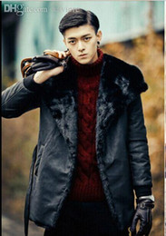 Wholesale Leather Jackets Mink Collar - Fall-Luxury Mens Leather Jacket Men Fur Coat 2016 Big Turn-down Collar Medium-long Jaqueta Masculina Couro Mink Fur Windbreaker S79