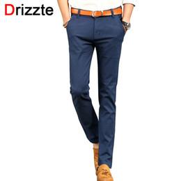 Wholesale Light Soft Blue Jeans - Wholesale-Drizzte Mens British Style Slim Chino Soft Denim Stretch Jeans Pants Blue Beige White 32 33 34 36 38