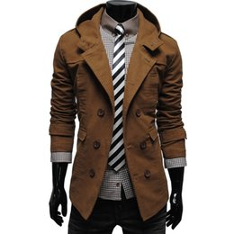 Wholesale Double Hood Jacket - Wholesale- free shipping men spring 2017 fashion Jacket fashion double breasted with a hood jacket casual male luxury coat P0189