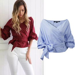 Wholesale Loose Work Blouse - Autumn retro half length sleeves slim high waist solid color shirt cuff long V neck loose woman work clothes blouse