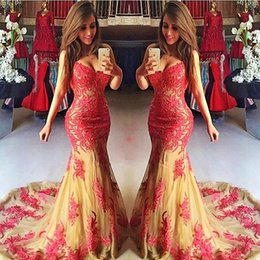 Wholesale Fast Delivery Prom Dresses - Mermaid Prom Dresses Long Sweetheart Lace Appliques Tulle Girls Pageant Party Gowns Count Train Fast Delivery Vestidos Evening Dress Long