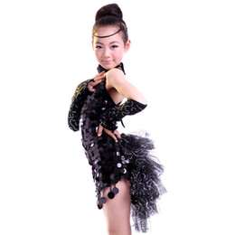 Wholesale Latin Dance Costumes Feathers - q0228 Girls Tassel Feather Latin Dance Dress Children Competition Performance Tango Dresses Samba Costume for Kids