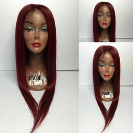 Wholesale Long Lace Front Wig Red - 99j Brazilian Lace Wig Virgin Human Hair Lace Front Wigs Wine Red Full Lace Wig 99j Silky Straight Middle Part For Black Women