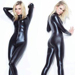 Wholesale Sexy Pvc Teddy - Women Sexy Wet Look Shiny Black PVC GOTHIC Catsuit Playsuit Bodysuit Zipper Fancy Dress Clubwear