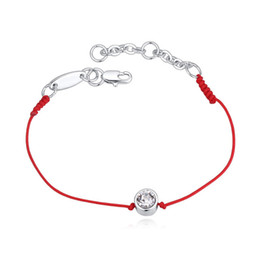 Wholesale Thin Chain Bracelets For Women - Wholesale-2 Colors Austrian Crystal jewelry thin red thread string rope Charm Bracelets for women Fashion summer style