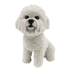 Wholesale Car Statue - Bichon Frise Dog Figurine resin dog animal statue wedding car decorations for home decoration christmas gift