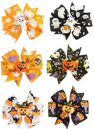 Wholesale Hair Printed Ribbons - 30Pcs Lot 3 Inch Girls Halloween New Style Ribbon Bow With Clip Boutique Kids Pinwheel Hairpin Barrettes Hairgrips Beautiful HuiLin A53