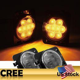Wholesale Car Led Eyebrows - Addmotor 2PCS Amber LED Wheel Eyebrow Turn Signal Lights For Jeep Wrangler JK Turn Signal LED Light Car Lamp