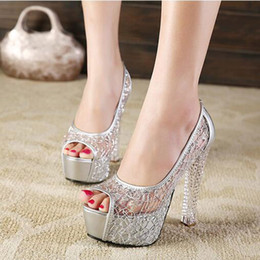 Wholesale Gold Peep Toe Shoes Wedding - Platform Gold Rhinestone Wedding Ladies Shoes With Heels Extreme High Glass Slipper Lace Bridal Cutout Transparent Heel Sexy