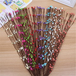 Wholesale Cheap Decorations For Weddings - Wholesale-Cheap 10pcs 65cm Bud Artificial Branches Twigs Iron Wire For Wedding Decoration DIY Scrapbooking Decorative Wreath Fake Flowers