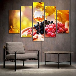 Wholesale canvas kitchen wall art - 5 Panel Painting Glass Wine Fruit Painting Canvas Art Prints Wall Pictures for Living Room Kitchen Dining Room Home Decoration Unframed