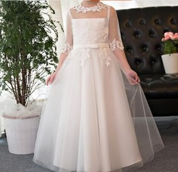 Wholesale Embroidery Piano - Children's Wedding Dress Princess Dresses Girl's Birthday Piano Performance Dress Lady's Long Sleeve Lace Flower Girls' Dresses