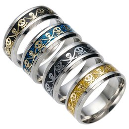 Wholesale Pirate Bands - Stainless Steel Jolly Roger Pirate Skull Ring Finger ring Tail Rings Bands for Women Men jewelry Gift 080185