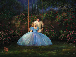 Wholesale Modern Floral Art Paintings - Thomas Kinkade Landscape Oil Painting Reproduction High Quality Giclee Print on Canvas Lovers swing Modern Home wall Art Living Room Decor
