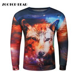 Wholesale Wolf Print Hoodies - Wholesale- Wolf 3D Hoodies Men Sweatshirt Printed Pullover Autumn Winter Tracksuit Funny Streetwear Cool Skateboard Hoody 2017 ZOOTOP BEAR