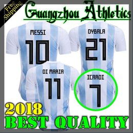 Wholesale Messi Quality Jersey - TOP QUALITY 2018 World Cup MESSI DYBALA Argentina home blue soccer jersey AGUERO DI MARIA HIGUAIN 2018 home football shirts