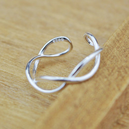 Wholesale Wholesale Sterling Silver Wave Ring - S925 sterling silver adjustable ring opening cross ring wave Korea fashion silver jewelry wholesale FREE SHIPPING