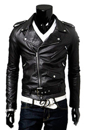 Wholesale Double Zip Jackets - Wholesale- Men's Cool Fit Punk Zip Motorcycle Jacket Deep