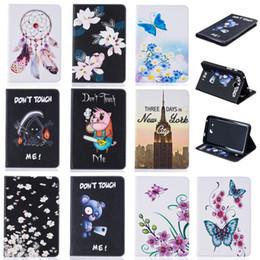 2019 kindersicheres gehäuse Tablet Fall für Samsung Galaxy Tab A 7.0 T280 T285 2016 Abdeckung Brieftasche Ständer Ledertasche mit Kartensteckplätze Malerei Schmetterling Turm