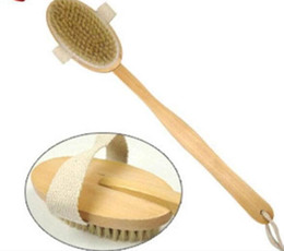 Wholesale Detachable Brushes - new Dry Skin Bath Brush Boar Bristle with Detachable Long Handle Bath Back Scrubber - Anti Cellulite Dry Skin Brushing