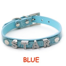 Wholesale Collar For Dog Prices - 10pcs 5colors&4sizes PU Leather Personalized DIY Name Charm Dog Pet Collar Pet Supplies For 10mm Slide Charms(Price exclude sliders)-Blue