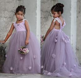 Wholesale Tulle Skirts For Kids - 2017 New Lavender Party Formal Flower Girl Dresses Princess Pageant Gowns Flower Square Royal Train Kids TuTu Skirts for Weddings