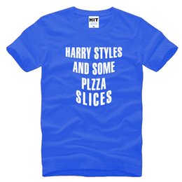 Wholesale 1d Direction - One Direction 1D Harry Styles And Some Pizza Slices Letter Printed Mens Men T Shirt Tshirt 2016 New O Neck Cotton T-shirt Tee