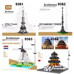 Wholesale 3d Famous Architecture - LOZ Diamond World Famous Architecture Eiffel Tower Ostankino Tower Windmill Temple of Heaven DIY 3D Model Building Blocks Bricks Toy Gift