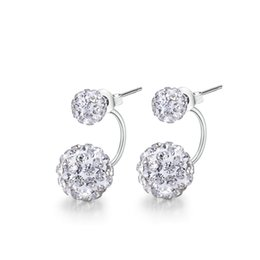 Wholesale Earrings Sterling Silver Round Ball - Round Earring Designs Crystal Ball Silver Color Earrings Studs Cute Rhinestones Front And Back Small Earring For Women SWE00311