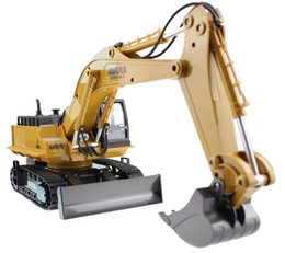 Wholesale Truck Toy Model - Wholesale- RC Excavator Alloy 2.4G 11CH Remote Control Engineering Truck Digger Truck Model Electronic Excavator Heavy Machinery Toy