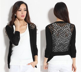 Wholesale Thin Lace Sweater - Wholesale- Women Candy Color Irregular Hem Long Sleeve Slim Thin Lace Hollow Out jacket Women Knitted Cardigan Sweater Tops