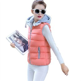 Wholesale Down Coat Ladies Pattern - 2017 Casual New Women Sleeveless Hooded Winter Cotton Down Vest for Girls Ladies Waistcoat Slim Thick Warm Jacket Outwear Coat M-3XL