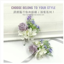Wholesale Chinese Bulk Wholesale - The bride bridegroom lavender purple corsages brooches beach wedding bouquets bridesmaids bouquets wrist flowers business party brooches