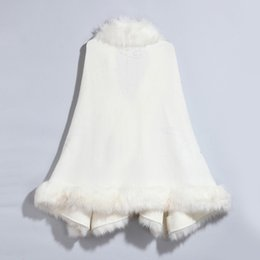 Wholesale Wool Cape Fur Collar - Solid Wool Pashmina Feeling Arcylic Faux Fur Jacquard Cape Poncho Cardigan Knitting Lady Shawl Stole Wraps Sweater Wool Collar Coat