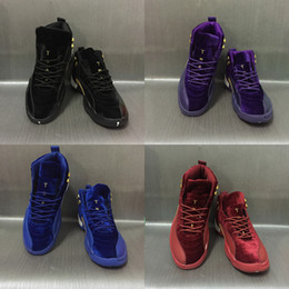 Wholesale Womens Air - 2017 With Box Mens and Womens Basketball Shoes Air Retro 12 Royal Wine Red Purple Black Velvet Heiress Suede Gym Sneakers