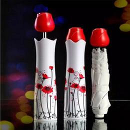 Wholesale Uv Umbrellas - Creative Vase Umbrellas Rose Handle Sunny And Rainy Umbrella Sun Shading Anti UV Bottle Bumbershoot For Women Popular 9ms B