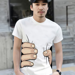Wholesale Cheap Long Tee Shirts - Wholesale- 2016 Summer Brand New Men 3D Big Hand Short Sleeve Cotton T Shirt Breathable O Neck Fashion Tops Tee Funny Tshirt homme Cheap Z2