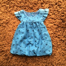Wholesale Pattern Fabric Dress - Baby Clothes Infant Girls Denim Dresses Spring Flying Sleeve Round Neck Flower Pattern Double Fabric Toddler Dress