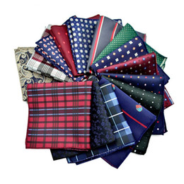 Wholesale Groom Handkerchief - New Plaid Floral Stripes Square Hanky Polyester Bussiness Pocket Handkerchief Kerchief Wedding Groom Fashion Accessories 210054