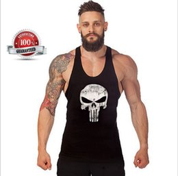 Wholesale T Shirt Muscle Print - Mens Skull Print Stringer Bodybuilding Gym Tank Tops Workout Fitness Vest Muscle Workout T-Shirt Bodybuilding Tank Top out161
