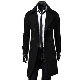 Wholesale Cashmere Overcoats Men - Wholesale- Men Outwear Slim Stylish Trench Coat Winter Long Jacket Double Breasted Overcoat Woolen Coat