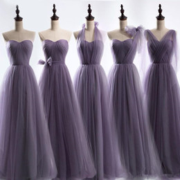 Wholesale Capped Strap - Long Tulle Bridesmaid Convertible Dresses Floor Length 2017 Wedding Guest Dress Bridesmaid Prom Gowns Lace Up Back Custom Made