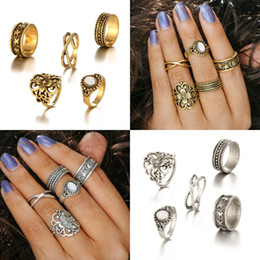 Wholesale Ladies Acrylic Rings - 5pcs Set Retro Luxurious Midi Stack Ring Sets Boho Beach Fashion Jewelry Knuckle Finger Rings For Women Ladies Accessories D28S