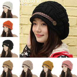 Wholesale Pink Knit Top - 8 color winter beanie hats for women ladies fashion hats Caps Knitted warm hat Beanies Headgear Headdress Head Warmer Top Quality 942