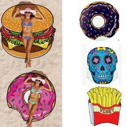 Wholesale Wholesale Cushions Skull - chiffon Round Beach Towel 7 design Pizza Donuts Hamburger Skull Ice Cream Strawberry Watermelon Towel Shawl Yoga cushion 200pcs KKA1503