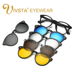 Wholesale Buying Cats - Wholesale-IVSTA Buy one get 5 Magnetic Clip Sunglasses Women Glasses with Magnetic Clip on Sunglasses Cat eye Polarized 2205 Reading Frame